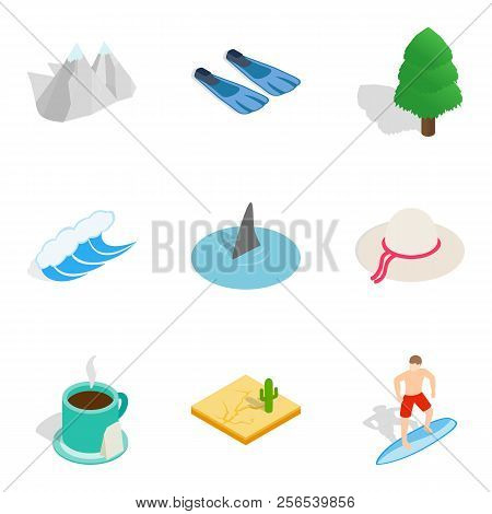 Watercourse Icons Set. Isometric Set Of 9 Watercourse Icons For Web Isolated On White Background