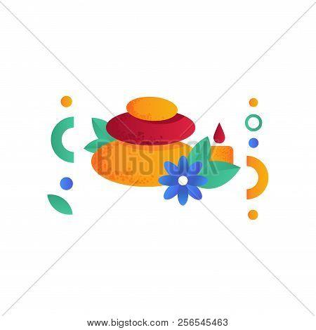 Zen Basalt Stones . Candle, Flower, Spa Symbols, Healthy Lifestyle Concept Vector Illustration On A