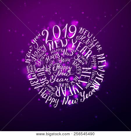 2019 new year phrase the beautiful handwriting vector illustration purple shine background