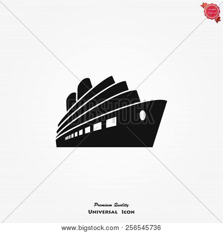Cruise Ship Icon Vector Symbol In Trendy Flat Style