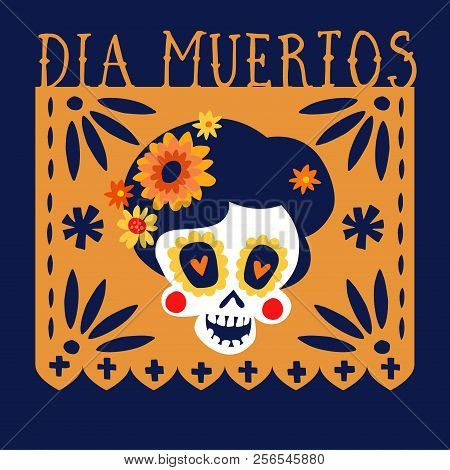 Dia De Los Muertos Greeting Card, Invitation. Mexican Day Of The Dead. Handmade Paper Cut Party Flag