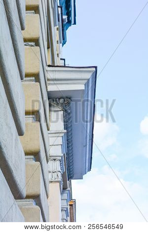 Side View On Generic Urban City Classic Style Building Exterior With Decorative Entrance. Old Town B