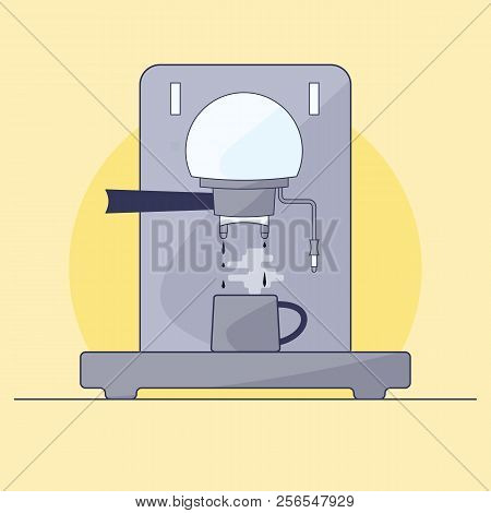 Coffee Maker Makes Hot Coffee. Mug Stands On Stand. Illustration In Style Of Flat.
