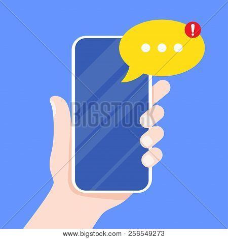 Mobile Messenger App For Texting Messages. Hand Holding Smartphone With New Message On Screen. Chat,