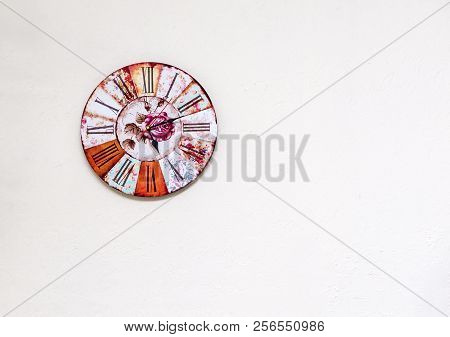 Mechanical Clock With A Dial On A White Wall, Roman Numerals, Clock Hands, Time, Color Clock, Round