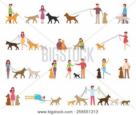 Young People Are Walking Dogs. Variety Of Rocks. The Dog Is Next To Its Owner On A Leash. Vector Ill