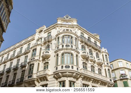 Beautiful modernist building from XX century in the city center of Malaga, Spain. poster