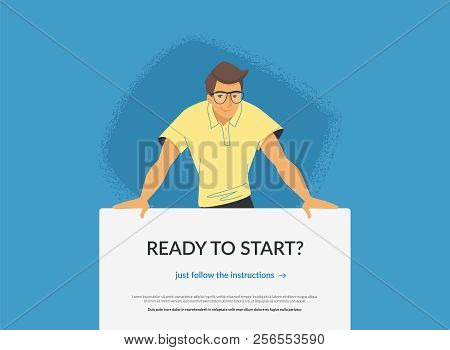 Website Banner With Invitation To Web Or Mobile Services. Flat Vector Illustration Of A Friendly Man