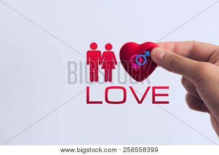 Male And Female Gender Sign On Heart, Concept Of Love And Relationship