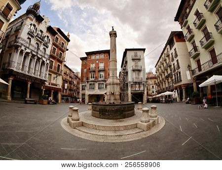 Teruel, Spain - July 21, 2018: The Main Square, Plaza Carlos Castell With Famous El Torico Fountain