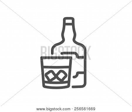 Whiskey Glass With Ice Cubes Line Icon. Scotch Alcohol Sign. Quality Design Element. Classic Style W