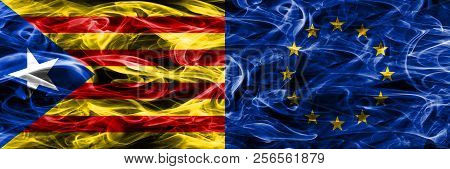 Catalonia Vs European Union Copy Smoke Flags Placed Side By Side. Thick Colored Silky Smoke Flags Of