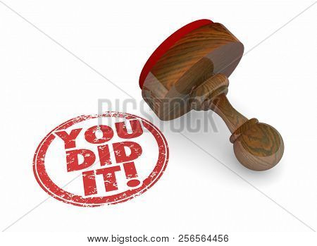You Did It Successful Achievement Word Stamp 3d Illustration