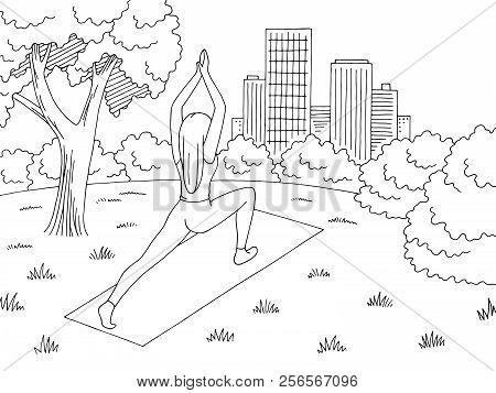 Park Graphic Black White Landscape Sketch Illustration Vector. Woman Practicing Yoga