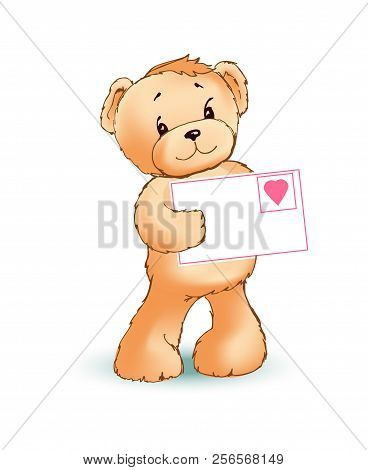 Teddy Bear With Shy And Modest Mood Holding Letter With Icon Of Heart, Made With Love, Poster And Ve