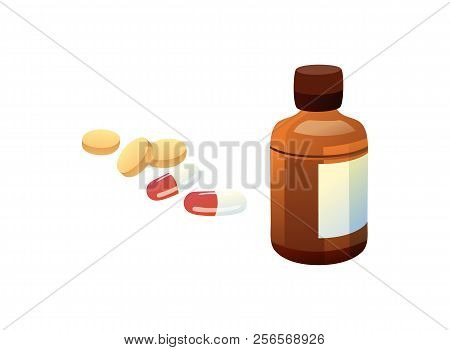 Glass Bottle And Pills Set, Collection Of Pilules In Container With Paper Label, Flea Medical Remedy