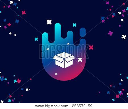 Opened Box Simple Icon. Logistics Delivery Sign. Parcels Tracking Symbol. Cool Banner With Icon. Abs