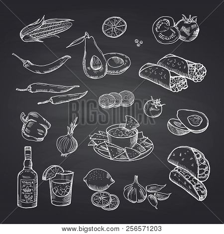 Vector Sketched Mexican Food Elements Set On Black Chalkboard. Illustration Of Mexican Food, Burrito
