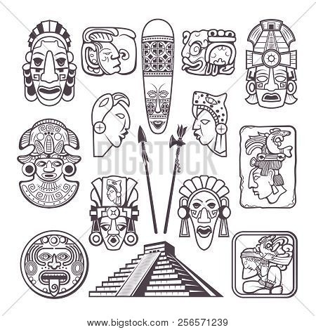 Monochrome Pictures Set Of Mayan Culture Symbols. Tribal Masks And Totems. Vector Aztec Tribal Mytho