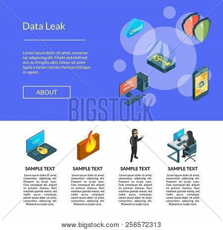 Vector Isometric Data And Computer Safety Icons Landing Page Template Illustration. Date Leak Protec