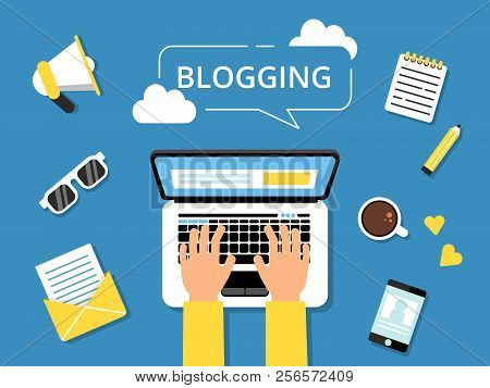 Blogging Concept Picture. Hands On Laptop And Various Tools For Writers Around. Writer Laptop Blog,