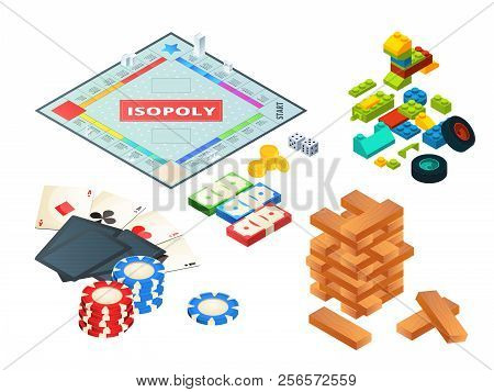 Board Games And Tools. Various Tools For Board Games. Dices, Pawns And Others. Block Pyramid Wooden,