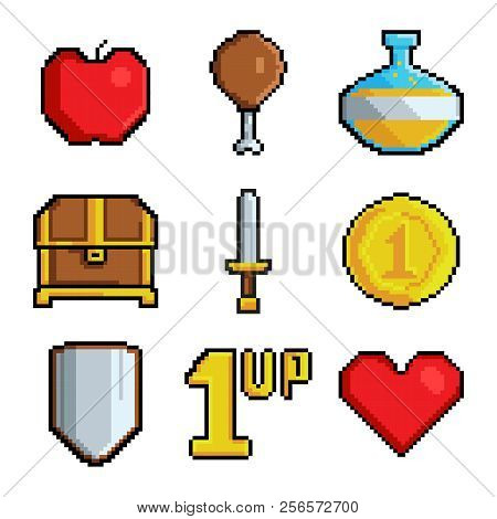 Pixel Games Icons. Various Stylized Symbols For Video Games. Video Game 8 Bit Collection Icons, Styl