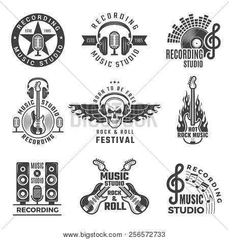 Music Labels. Microphone Big Speaker Drums And Headphones Vector Pictures And Logos For Music Record