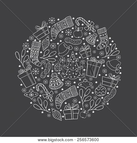 Hand Drawn Winter Holiday Symbols In A Circle. White Christmas Vector Illustration On Black Backgrou