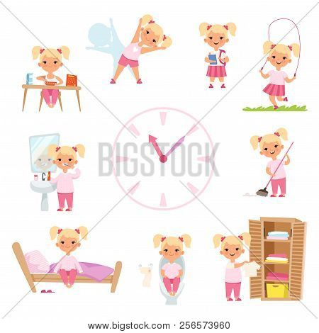 Childrens Daily Routine. Male And Female Kids In Action Poses. Vector Girl Happy Daily Activity, Mor