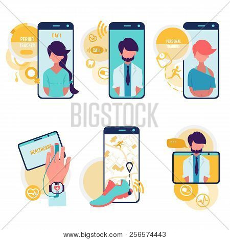 Healthcare And Technologies. Vector Cartoon Icons Set Of Medicine With Computer Technologies. Medici
