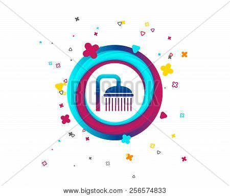 Shower Sign Icon. Douche With Water Drops Symbol. Colorful Button With Icon. Geometric Elements. Vec