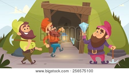 Dwarves In The Mine. Vector Characters Of Dwarves Which Mine Golden Rocks. Illustration Of Dwarf Min