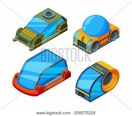 Futuristic Transport. Isometric Illustrations Of Futuristic Automobiles. Car Automobile Futuristic,