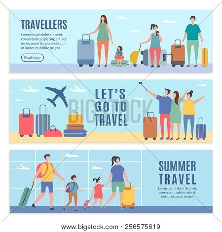 Banners Of Summer Characters. People Goes To Summer Vacation. Vector People Vacation And Trip, Trave