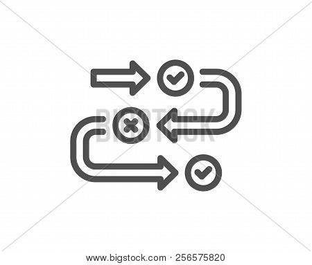 Survey Progress Line Icon. Quiz Algorithm Sign. Business Interview Symbol. Quality Design Element. C