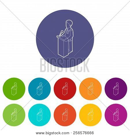 Orator Speaking From Tribune. Outline Illustration Of Orator Speaking From Tribune Icons Color Set F