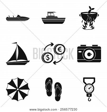 Sea Recreation Icons Set. Simple Set Of 9 Sea Recreation Icons For Web Isolated On White Background