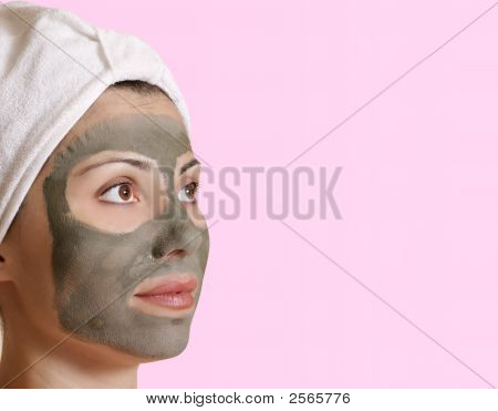 Female In Clay Beauty Mask