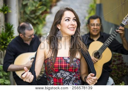 Fado Band Performing Traditional Portuguese Music On The Street Of  Lisbon, Portugal