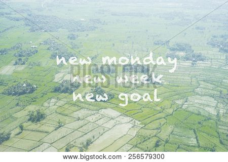 Inspirational Quote - New Monday,new Week, New Goal. Blurry Retro Style Background