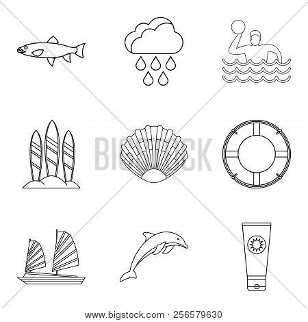 Tropical Shore Icons Set. Outline Set Of 9 Tropical Shore Icons For Web Isolated On White Background