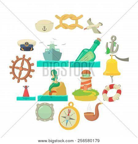 Nautical Sea Icons Set. Cartoon Illustration Of 16 Nautical Sea Icons For Web