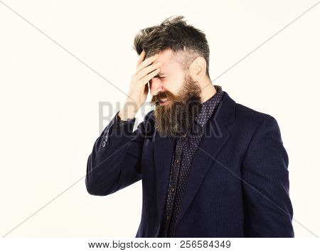 Business Failure Concept. Man With Stressed Face Because Of Business Failure