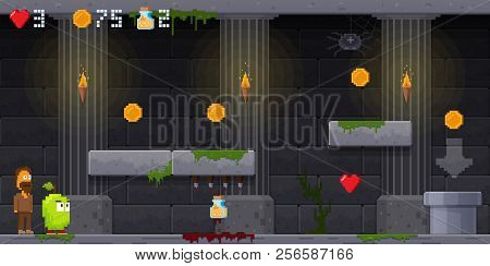 Interface 8 Bit Game, Pixel Art Platformer, Jumping Over Obstacles.