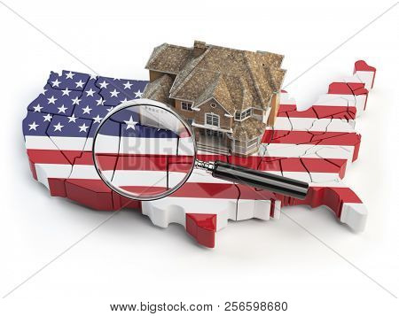 House and loupe on the map of USA in colors of australian flag. Search a house for buying or rent concept. Real estate development in USA. 3d illustration