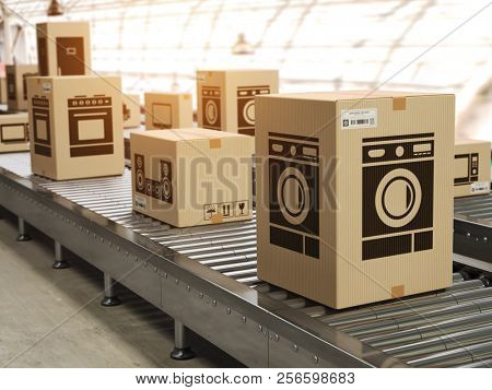 Household appliance in cardboard boxes on conveyor roller in distribution warehouse E-commerce,  delivery and packaging service concept. 3d illustration