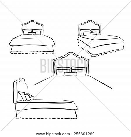 Old Kind Size Bed Drawing. Hand-drawn Vector Sketch. Business Concept Design.