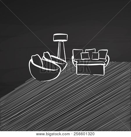 Seat Corner Drawing On Chalkboard. Hand-drawn Vector Sketch. Business Concept Design.