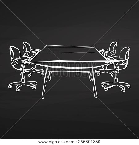 Meeting Desk Drawing On Chalkboard. Hand-drawn Vector Sketch. Business Concept Design.